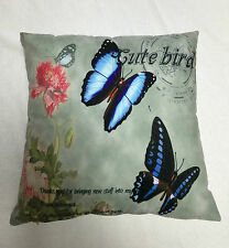 BUTTERFLY BLUE DUCK EGG GREEN PRINTED CUSHION COVER / PILLOWCASE | FREE POSTAGE