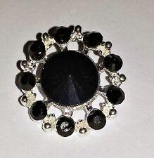 2 Round Black & Silver Grade A Rhinestone Crystal Buttons 20mm Craft M0366B