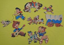 Vintage Dolly Toy Company Pin Up Wall Hanging Plaques 1950's Cowboy And Indian