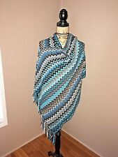 Just Be Poncho Free Size Chevron Pattern Shades of Blue Spring Fringe Pretty