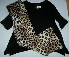 NWT Ellen Tracy LEOPARD Pant/Black SHARKBITE Top SLINKY Knit Pajama/Lounge Set M