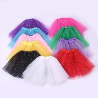 Children Girl Star Sequin Mesh Ballet Tutu Skirt Tulle Dressup Casual Dance NEW