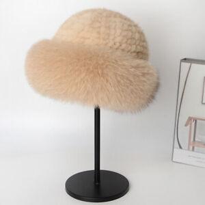 Womens Elegant Real Mink Fur Hat Knitted Cap Warm Beanie Skull W Fox Fur Brim