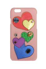 NEU DOLCE & Gabbana Handyhülle Pink Leder Herz Kristall iPhone6/6S