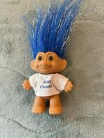"""Vintage Russ 3"""" Troll Doll with Happy Chanukah White Shirt-Excellent Condition"""