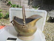 Large Antique Brass Fireplace Coal Bin Log Basket Scuttle Vintage Old Planter