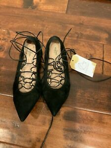 Valentino Garavani Black Suede Studded Lace-Up Flats, Size 10 (US) 40 (IT)