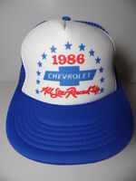 Vtg 1986 CHEVROLET Chevy All Star Round Up ADVERTISING Snapback Trucker Hat Cap