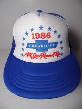 Vtg 1986 CHEVROLET Chevy All Star Round Up ADVERTISING Snapback Trucker Hat Cap