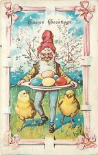 Fantasy Easter~Gnome Carries Platter of Colored Eggs~Chick Buddies~Emboss~1909