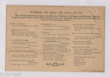 ANTIQUE ENVELOPE / WHERE TO BUY IN SAN JUAN / PUERTO RICO / 1920's