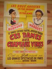324-AFFICHE ancienne G. ACREMANT: Ces Dames aux Chapeaux Verts Marry Marquet et