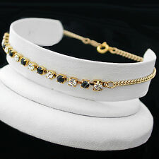 "9"" Black & White 3mm Austrian Crystal Tennis 14k Gold Gl Anklet + Life Guar"