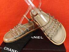 NIB CHANEL BEIGE LTH SATIN GOLD CHAINS CC LOGO GLADIATOR FLATS SANDALS 35.5