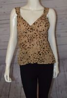 Banana Republic M Blouse Sleeveless Sweetheart Animal Print Tan Brown 100% Silk