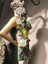 Purse Charm Tree Of Life Green Key Chain FOB handmade USA 1091