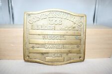 Ships Salvage Commissioning Boat Builders Log Brass Plate