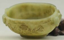 Chinese old hetian jade hollowed-out statue flower brush washer