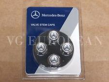 Mercedes-Benz Genuine Tire Valve Steam Cap Set, Black Star on Silver Caps OEM