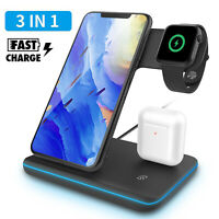 3 in 1 Qi Wireless Fast Charger Stand For iWatch Airpods iPhone 11 Pro Max /X/XS