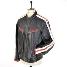 Men's VTG Black Red 60s 70s REAL LEATHER Motorcycle Biker CAFE RACER Jacket UK L