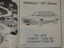 revue technique RENAULT 25 DISEL TURBO D LIMOUSINE DX / E.O 1987 / français