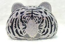 Silver Black Tiger Head~Handmade Austrian Crystal ~ Bridal / Evening Clutch Bag