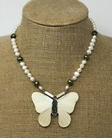 Mother Of Pearl Abalone Butterfly Necklace by Lee Sands