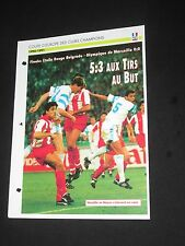 OM MARSEILLE ETOILE ROUGE 1991 FINALE C1 COUPE D EUROPE FICHE FOOT PASSION XL