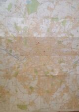 Manchester and Salford Large Scale 4 feet by 3 feet Colour Map of City