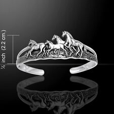 Wild Horses .925 Sterling Silver Bangle Bracelet by Peter Stone