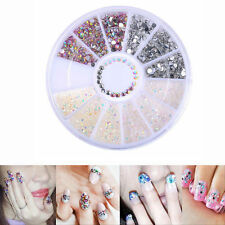 MIX Glitter DIY Nail Art Tips Charm Gems Crystal Rhinestones 3D Decoration Wheel
