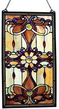 "26"" Tiffany Style Stained Glass Window Panel Hanging Wall Multi Color Decor Art"