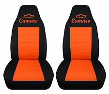 CHEVY CAMARO 1992-2002 cotton front car seat covers black and orange with design