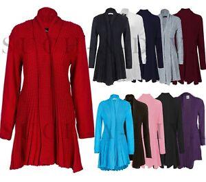 Ladies Women Knitted Waterfall Boyfriend Cardigan Jumper Plus Size UK 8-26