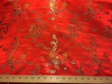 """Red Flying Dragons Oriental Satin Brocade/Jacquard Fabric 45"""" wide By The Yard"""
