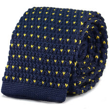 New Luxury Mens Blue Yellow Chevron Woven Tie (Necktie Men Knitted Skinny)