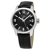 Tissot Men's Prc 200 Black Dial Leather Strap Swiss Quartz Watch T0554101605700