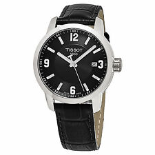 Tissot Men's Prc 200 Black Dial Leather Strap Swiss Quartz Watch T0554101605700