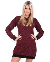Ladies Women Knitted Long Sleeve Crew Neck Jumper Dress Soft Knit Top Sweater