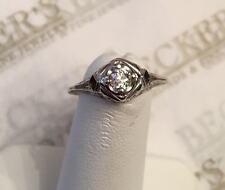 Art Deco 18k wg Old Mine Cut Diamond Filigree Ring .18 ct L-I1 size 5.5