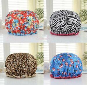 Shower Cap Bath Hat Hair sleep Care womens  waterproof double layer spa girls