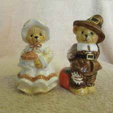 "Cherished Teddies 1997 Harvest Bear Salt & Pepper Shakers 4 1/4"" Great Shape -B2"