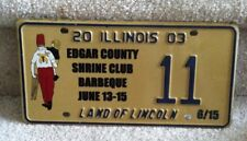 Illinois Specialty License Plate 2003 Edgar County Shrine Club Barbeque  #11