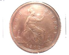 CIRCULATED 1862 ONE PENNY UK COIN.