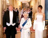 PRESIDENT DONALD TRUMP, MELANIA AND QUEEN ELIZABETH II 2019 - 8X10 PHOTO (SP069)