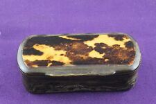 Antique 19th Century Horn & Faux Tortoiseshell Top, Round Ended Snuff Box