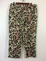 Talbots Pants Women Size 14 Tan Floral Crop Trouser Slacks