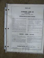 1961 Evinrude Outboard Motor Lark 40 Electric Parts List 35524  35525 Boat  U