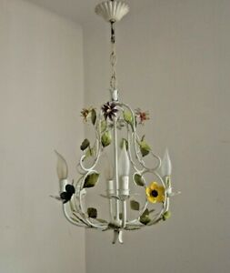 French Vintage White 4 Light Cage Chandelier With Pretty Flowers & Leaves 2973